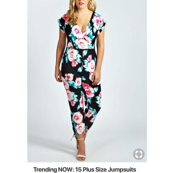 acc3bfc5e8f Boohoo Plus Pants - Floral jumpsuit